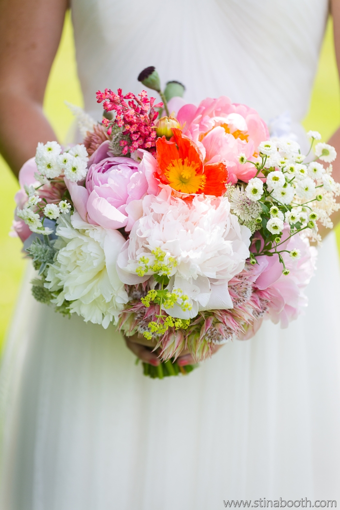 Colorful bouquet of poppies and peonies by Erin Ostreicher Designs   Studio SB