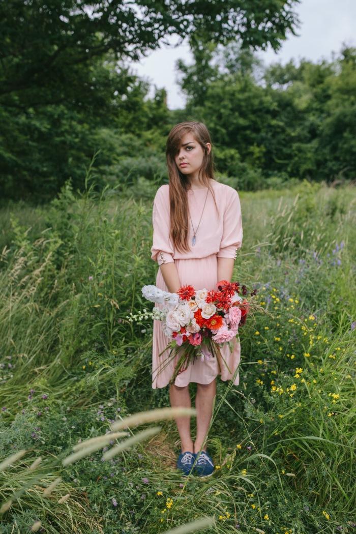 Bouquet of poppies, garden roses, larkspur and bee balm by Erin Ostreicher Designs   Katie Jean Photos