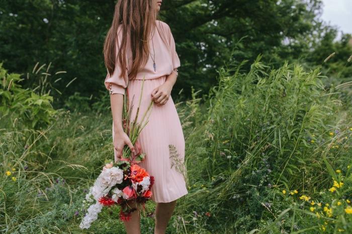 Bouquet of roses, poppies, larkspur and bee balm by Erin Ostreicher Designs   Katie Jean Photos